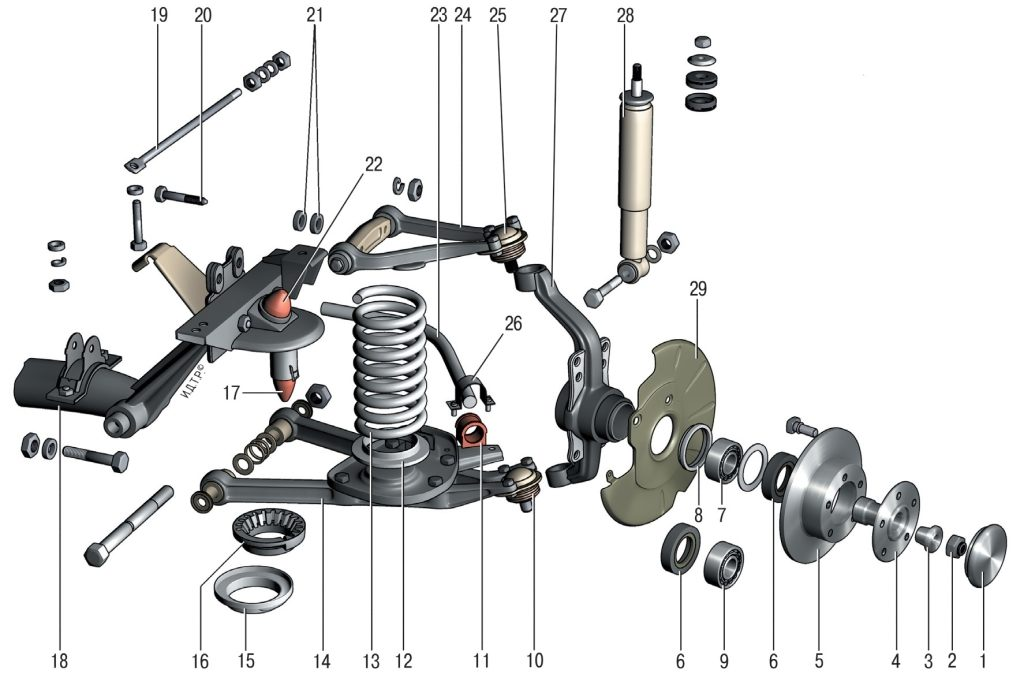 Схема ходовой части Шевроле Нива